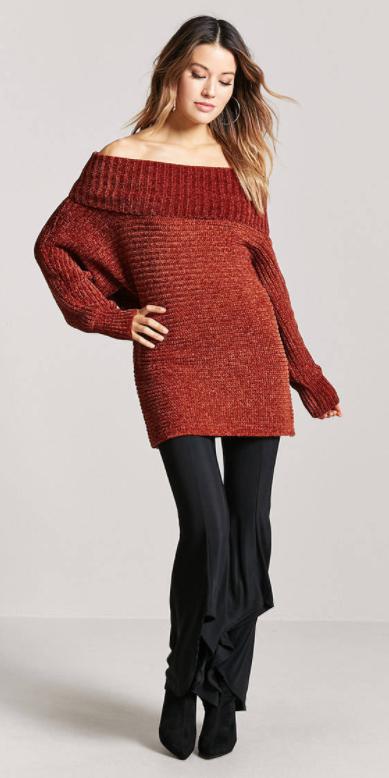 black-wideleg-pants-flare-orange-sweater-offshoulder-tunic-hoops-black-shoe-booties-fall-winter-hairr-lunch.jpg