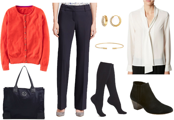 black-wideleg-pants-white-top-blouse-bow-orange-cardigan-howtowear-fashion-style-outfit-fall-winter-hoops-black-shoe-booties-necklace-office-work.jpg
