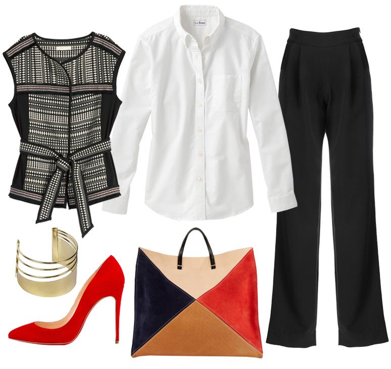 black-wideleg-pants-white-collared-shirt-black-vest-knit-red-shoe-pumps-red-bag-colorblock-tweed-bracelet-fall-winter-work.jpg