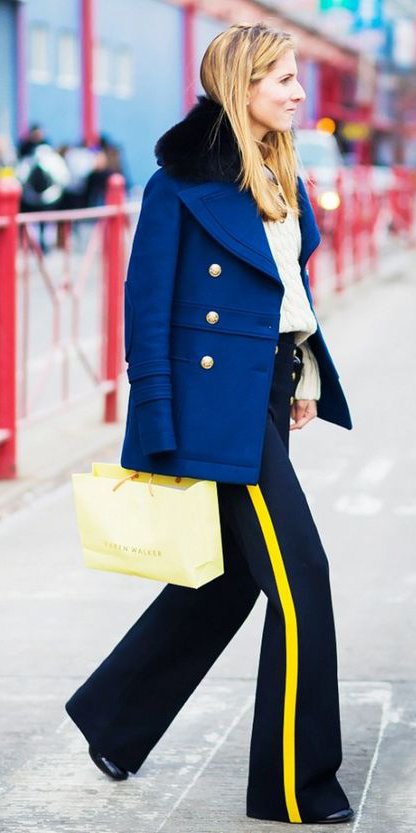 black-wideleg-pants-trackpants-white-sweater-blonde-blue-navy-jacket-coat-fall-winter-lunch.jpg