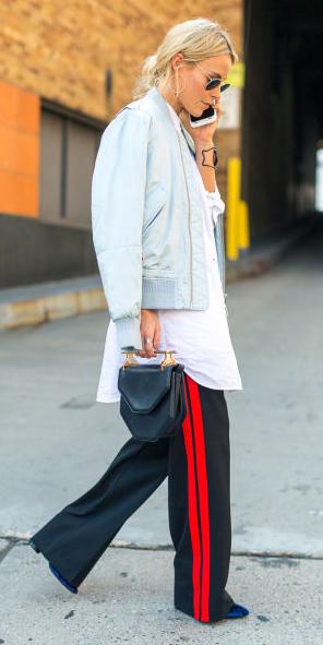black-wideleg-pants-trackpants-black-bag-blue-light-jacket-bomber-white-collared-shirt-blonde-fall-winter-lunch.jpg