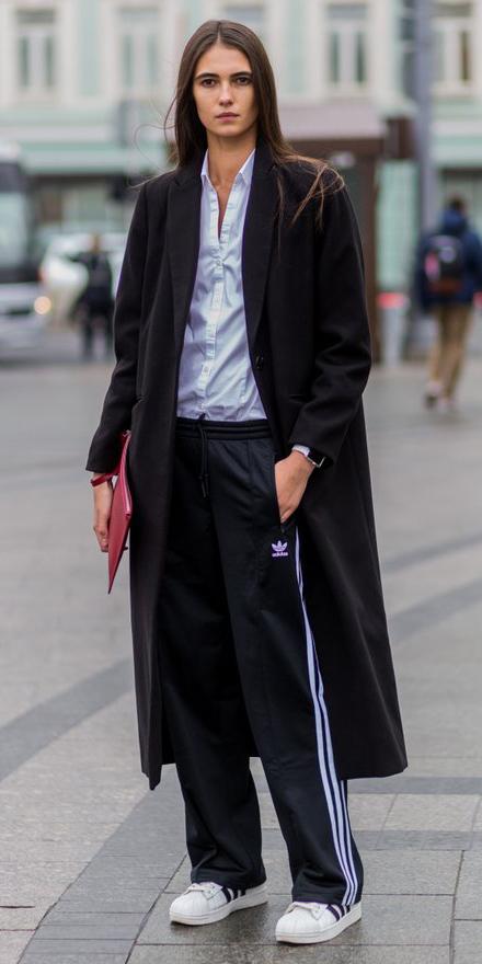 black-wideleg-pants-trackpants-white-collared-shirt-black-jacket-coat-hairr-white-shoe-sneakers-red-bag-clutch-fall-winter-work.jpg