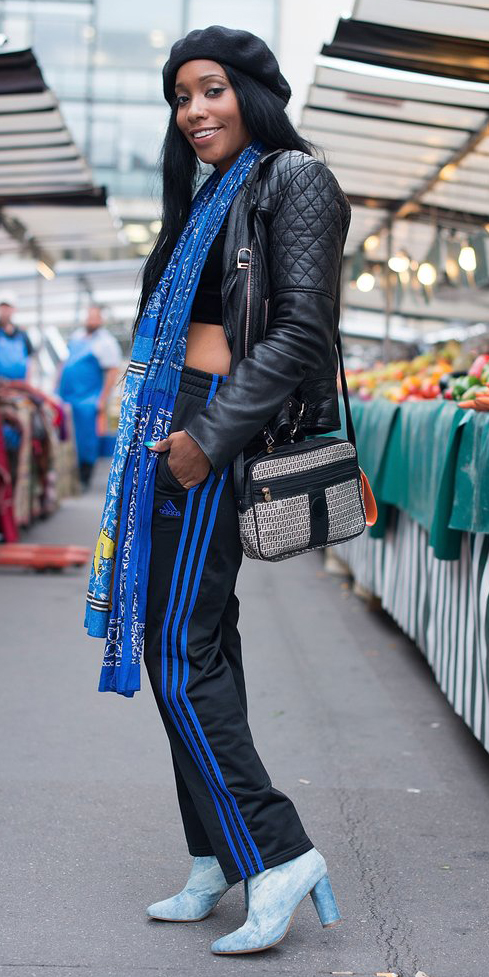 black-wideleg-pants-trackpants-blue-med-scarf-cobalt-blue-shoe-booties-black-crop-top-black-jacket-moto-beret-brun-fall-winter-lunch.jpg