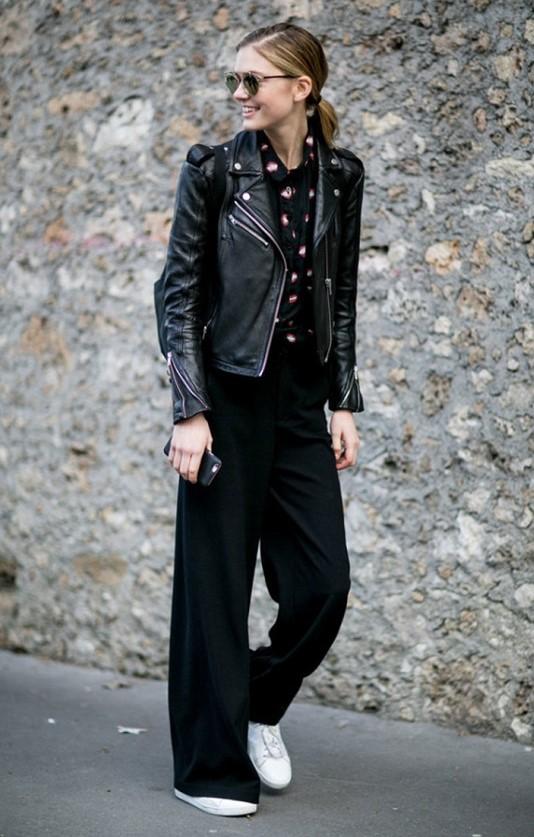 black-wideleg-pants-black-blouse-black-jacket-moto-blonde-white-shoe-sneakers-pony-sun-blonde-fall-winter-weekend.jpg