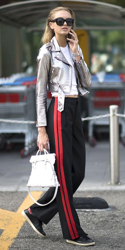 black-wideleg-pants-trackpants-white-tee-gray-jacket-moto-silver-white-bag-blonde-sun-black-shoe-sneakers-fall-winter-weekend.jpg