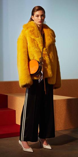 black-wideleg-pants-yellow-bag-earrings-white-shoe-pumps-yellow-jacket-coat-fur-fuzz-trackpants-fall-winter-hairr-lunch.jpg