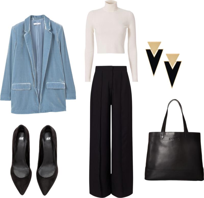 black-wideleg-pants-white-sweater-turtleneck-black-earrings-black-shoe-pumps-velvet-black-bag-tote-blue-light-jacket-blazer-boyfriend-fall-winter-work.jpg