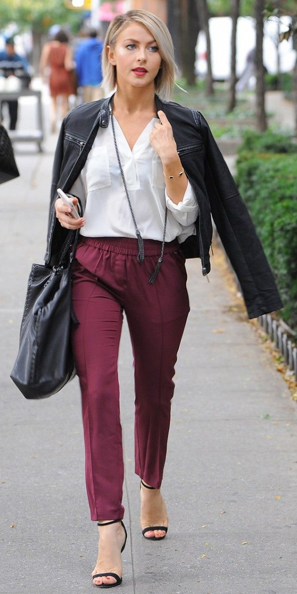 burgundy-joggers-pants-white-top-blouse-black-jacket-moto-black-shoe-sandalh-black-bag-juliannehough-blonde-fall-winter-dinner.jpg