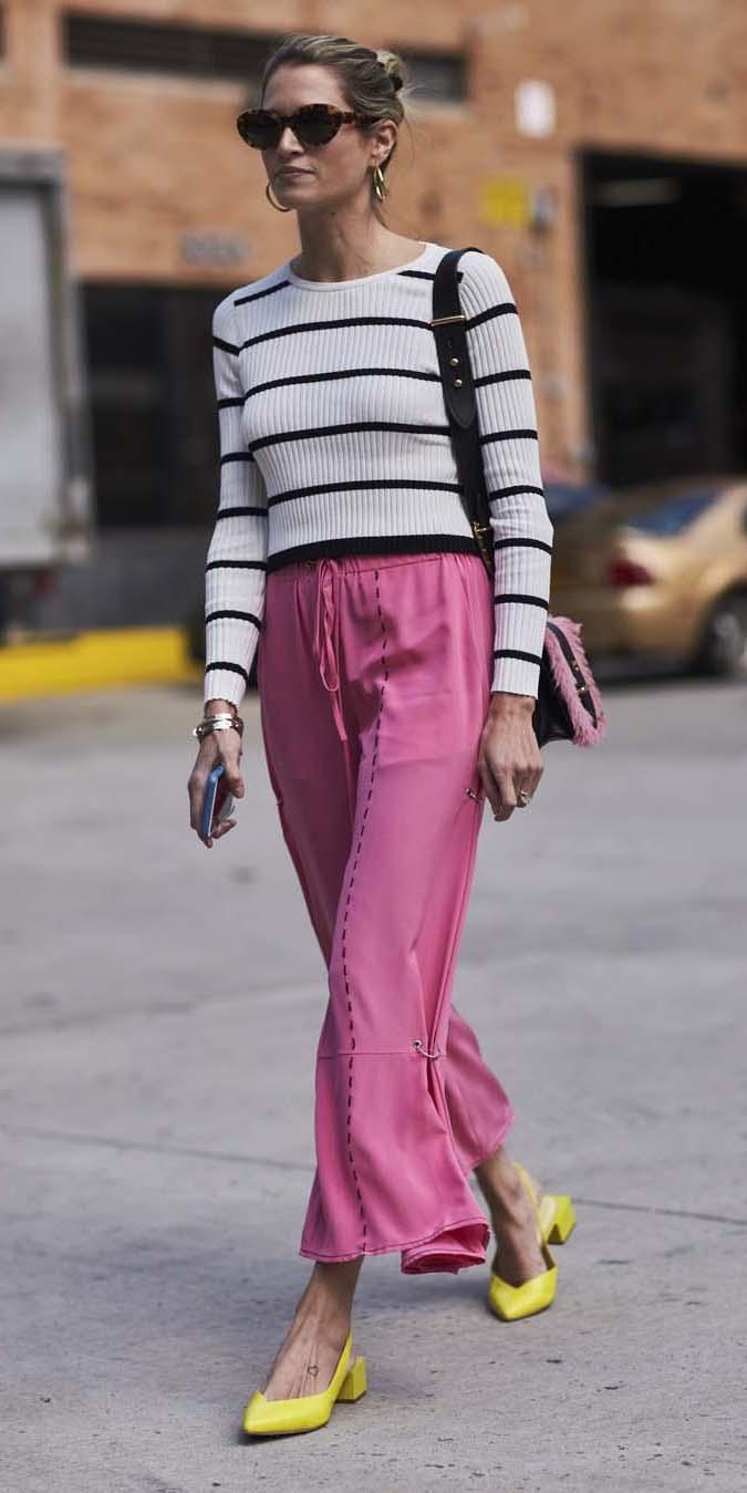 white-sweater-stripe-yellow-shoe-pumps-bun-blonde-black-bag-sun-pink-magenta-joggers-pants-spring-summer-lunch.jpg