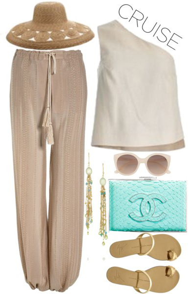 o-tan-joggers-pants-white-top-oneshoulder-tan-shoe-sandals-blue-bag-clutch-sun-hat-straw-earrings-cruise-howtowear-fashion-style-outfit-spring-summer-beach-weekend.jpg