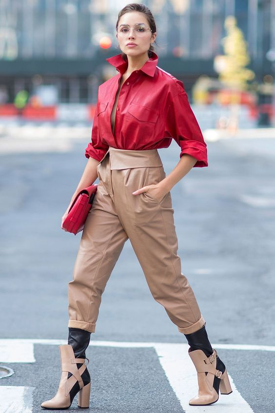 tan-joggers-pants-leather-red-collared-shirt-tan-shoe-booties-red-bag-clutch-hairr-pony-oliviaculpo-fall-winter-lunch.jpg