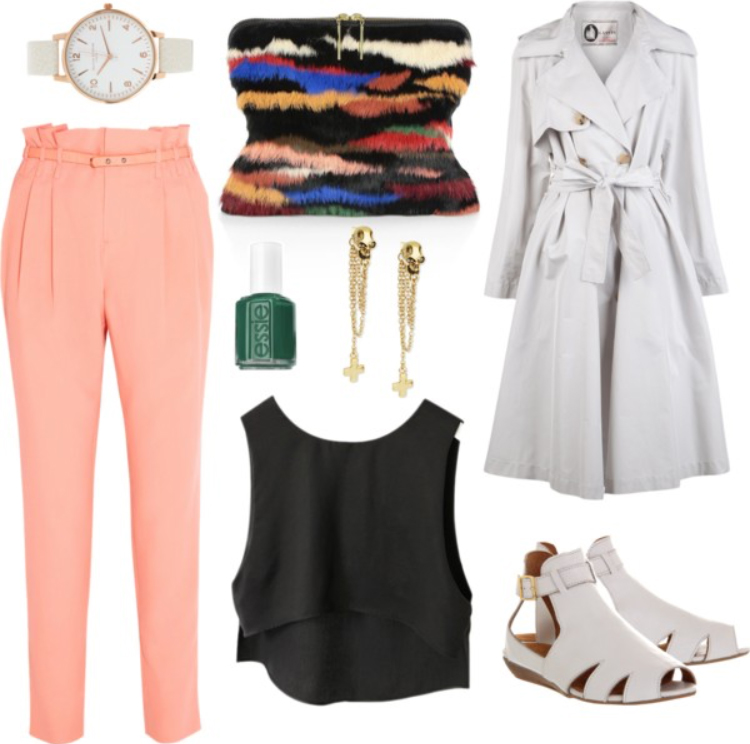 o-peach-joggers-pants-black-top-crop-white-jacket-coat-trench-earrings-watch-nail-wear-style-fashion-spring-summer-white-shoe-flats-black-bag-clutch-lunch.jpg