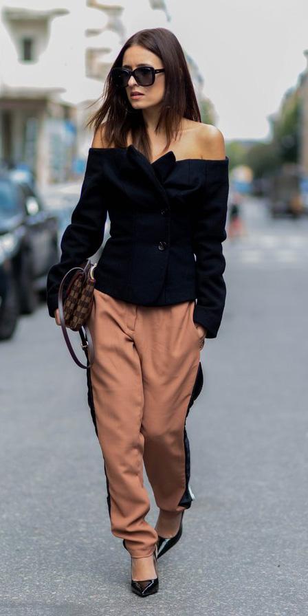 camel-joggers-pants-black-top-offshoulder-brown-bag-black-shoe-pumps-fall-winter-dinner.jpg