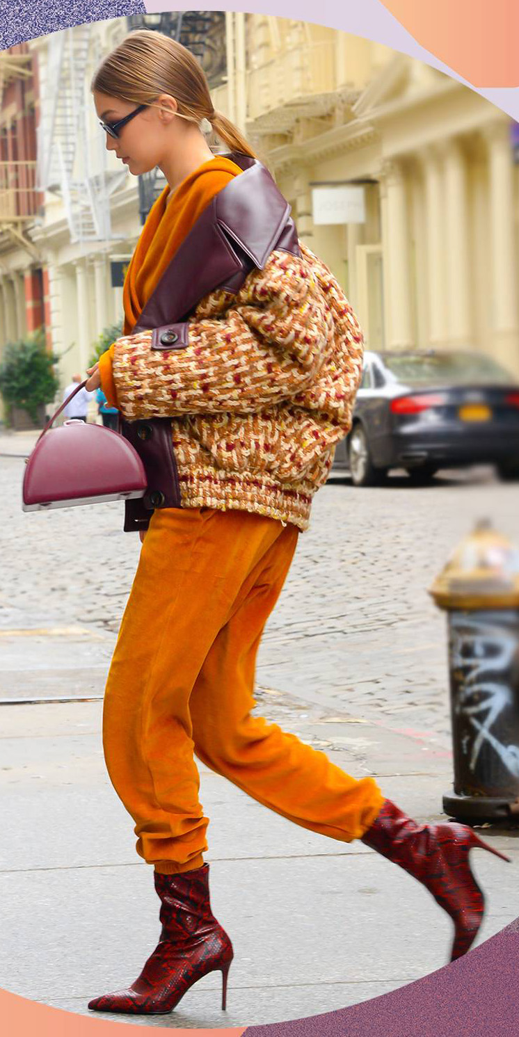orange-joggers-pants-orange-sweater-yellow-jacket-bomber-tweed-red-shoe-booties-blonde-pony-red-bag-gigihadid-fall-winter-lunch.jpg