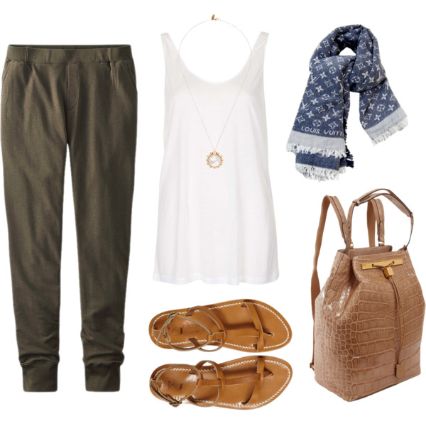 green-olive-joggers-pants-tan-bag-pack-tan-shoe-sandals-blue-navy-scarf-necklace-pend-travel-wear-airplane-white-cami-spring-summer-weekend.jpg