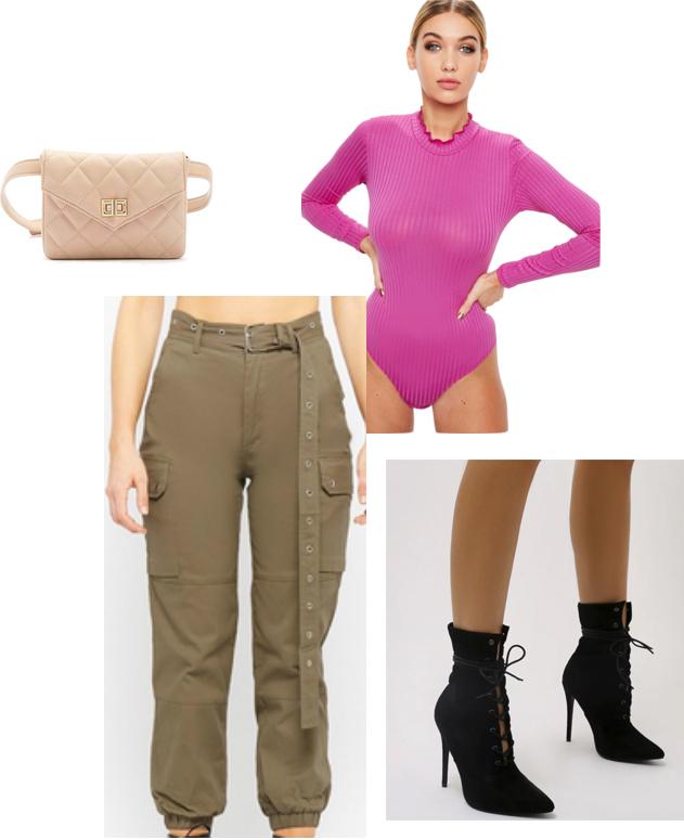 green-olive-joggers-pants-pink-magenta-top-sheer-bodysuit-tan-bag-fannypack-black-shoe-booties-cargo-kimkardashian-tokyo-outfit-fall-winter-dinner.jpg