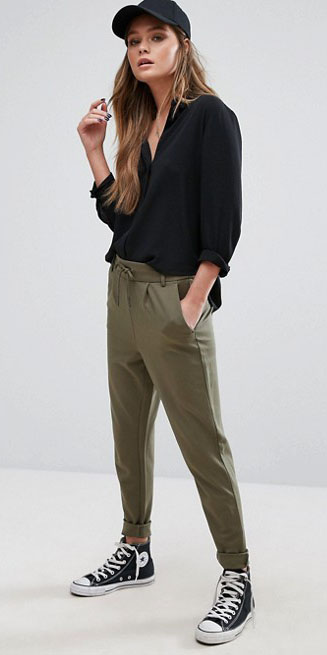 green-olive-joggers-pants-black-top-blouse-hat-cap-black-shoe-sneakers-fall-winter-weekend.jpg