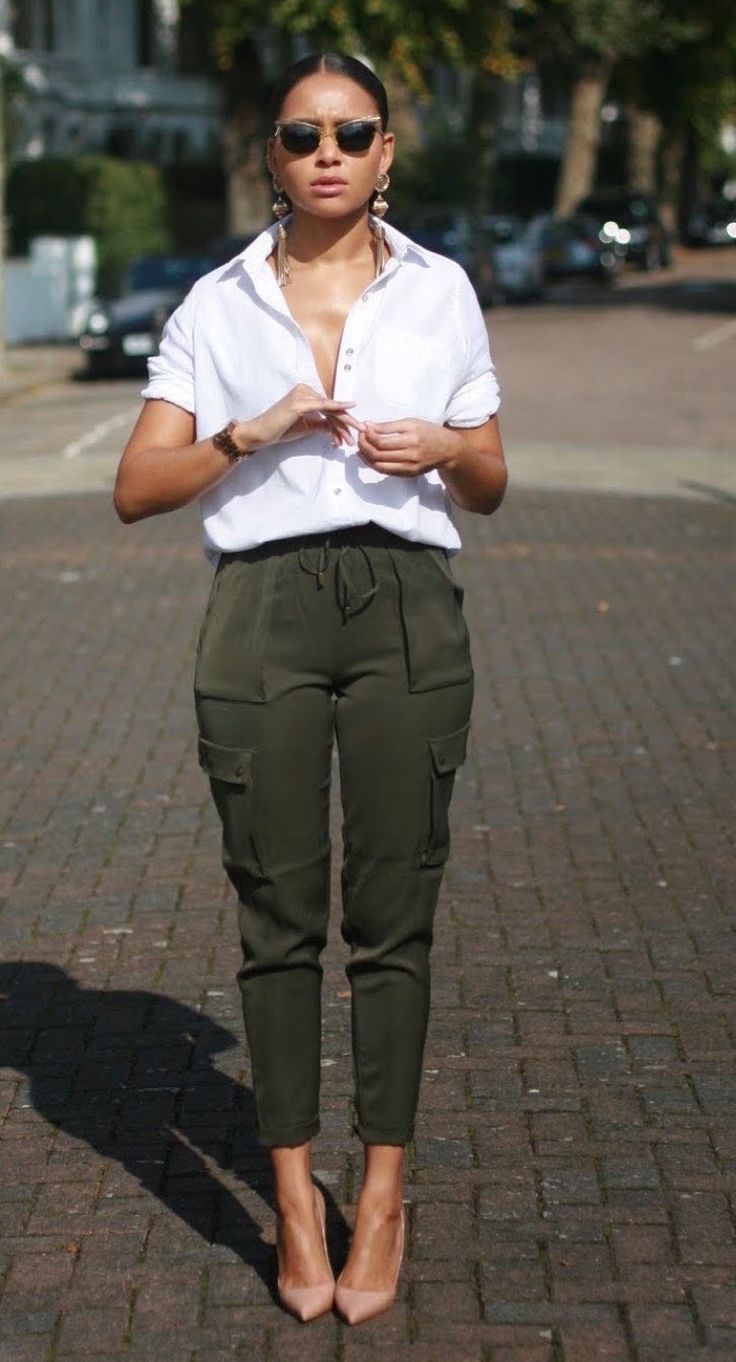 green-olive-joggers-pants-white-collared-shirt-sun-earrings-bun-cargo-tan-shoe-pumps-spring-summer-brun-lunch.jpg
