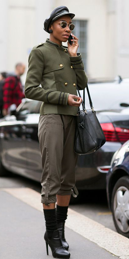 green-olive-joggers-pants-hat-sun-studs-black-shoe-booties-black-bag-brun-green-olive-jacket-coat-peacoat-fall-winter-lunch.jpg