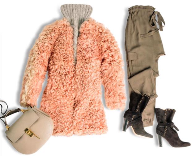 green-olive-joggers-pants-black-shoe-booties-grayl-sweater-turtleneck-peach-jacket-coat-fur-tan-bag-fall-winter-lunch.jpg