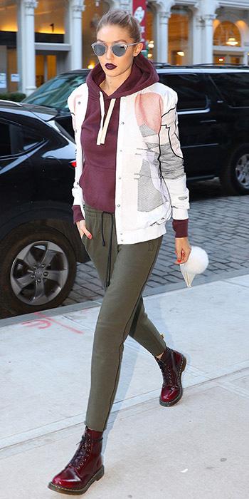 green-olive-joggers-pants-burgundy-sweater-hoodie-white-jacket-bomber-sun-bun-blonde-burgundy-shoe-booties-gigihadid-fall-winter-weekend.jpg