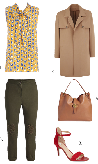 green-olive-joggers-pants-yellow-top-blouse-print-red-shoe-sandalh-tan-bag-tan-jacket-coat-howtowear-fashion-style-outfit-spring-summer-work.jpg