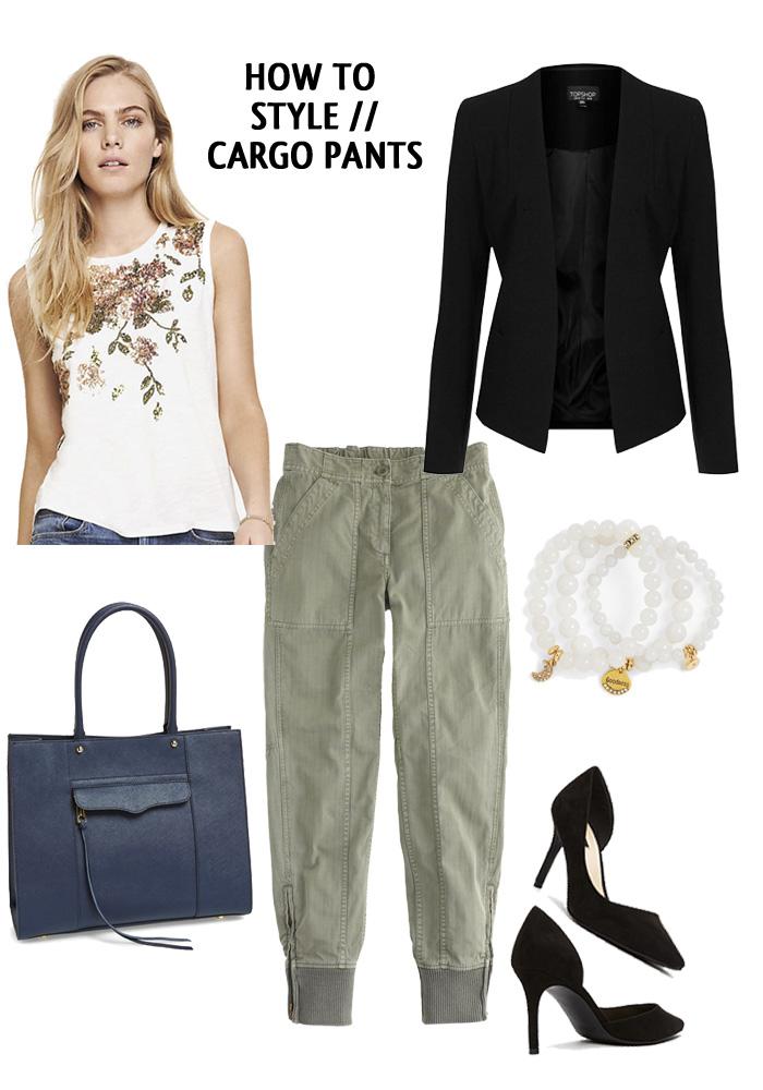 green-olive-joggers-pants-white-top-black-jacket-blazer-black-shoe-pumps-bracelet-blue-bag-tote-wear-style-fashion-spring-summer-blonde-cargo-work.jpg