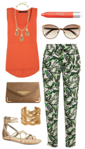 green-emerald-joggers-pants-orange-top-necklace-sun-bracelet-tan-shoe-sandals-tan-bag-print-spring-summer-lunch.jpg