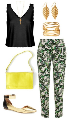 green-emerald-joggers-pants-black-cami-earrings-bracelet-yellow-bag-tan-shoe-flats-print-spring-summer-lunch.jpg