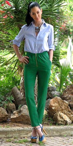 green-emerald-joggers-pants-blue-light-collared-shirt-bib-necklace-brun-pony-blue-shoe-pumps-spring-summer-lunch.jpg