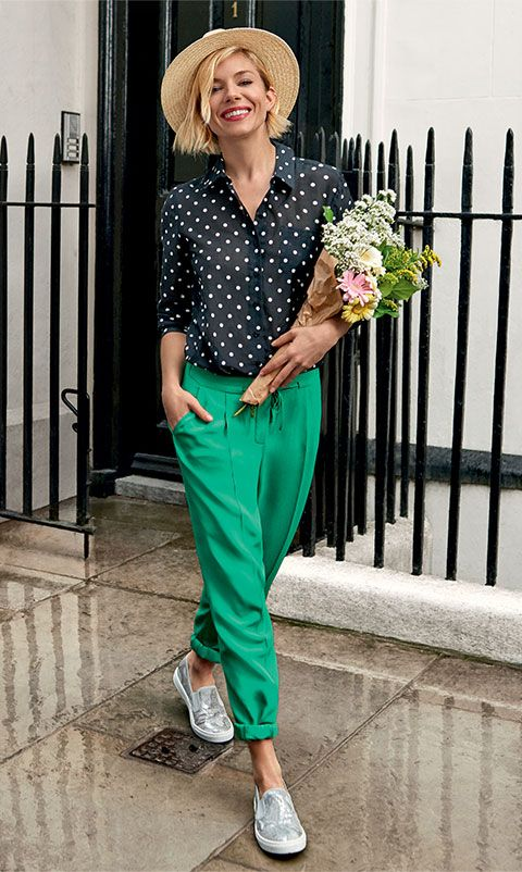 green-emerald-joggers-pants-black-collared-shirt-polkadot-print-hat-straw-gray-shoe-sneakers-spring-summer-lunch.jpg