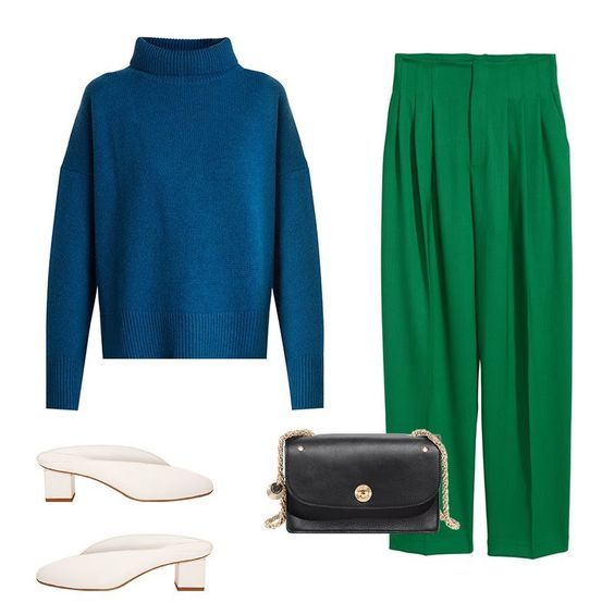 green-emerald-joggers-pants-blue-navy-sweater-turtleneck-cobalt-white-shoe-pumps-black-bag-fall-winter-lunch.jpg