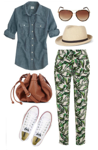 green-emerald-joggers-pants-blue-med-collared-shirt-hat-sun-cognac-bag-white-shoe-sneakers-print-spring-summer-weekend.jpg