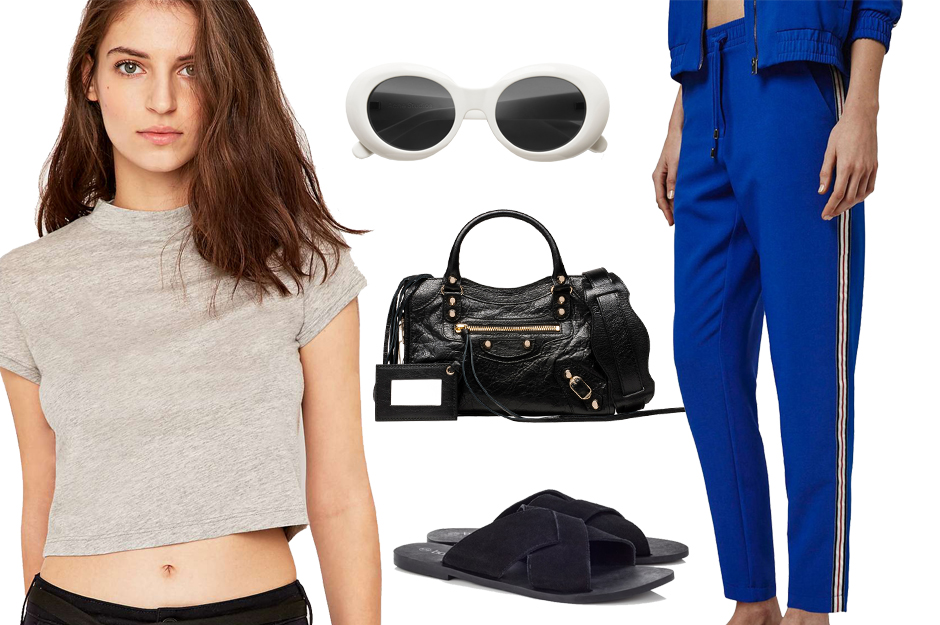 blue-med-joggers-pants-cobalt-sun-hairr-grayl-tee-black-shoe-sandals-black-bag-howtowear-fashion-spring-summer-weekend.jpg