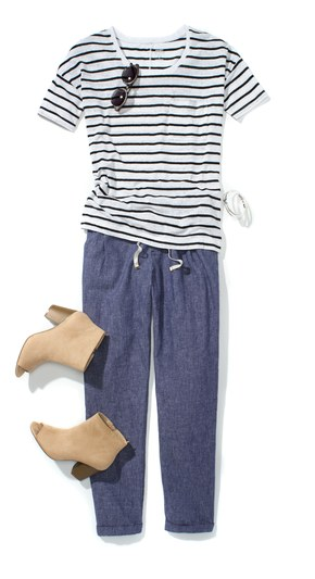 blue-med-joggers-pants-blue-navy-tee-stripe-wear-style-fashion-spring-summer-tan-shoe-booties-weekend.jpg