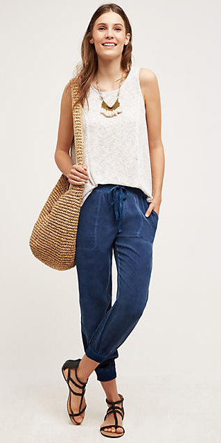 blue-navy-joggers-pants-white-cami-necklace-tan-bag-straw-wear-style-fashion-spring-summer-blue-shoe-sandals-denim-hairr-weekend.jpg