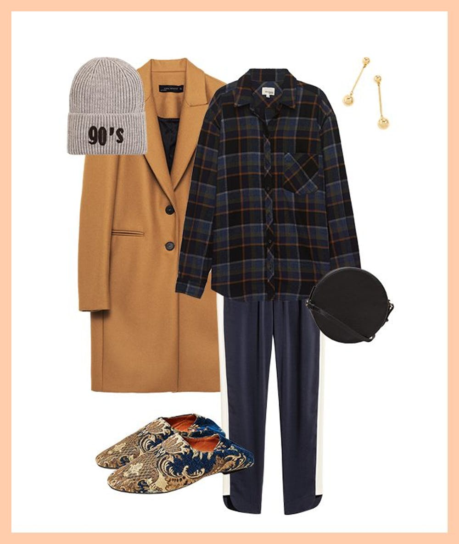 blue-navy-joggers-pants-trackpants-blue-navy-plaid-shirt-camel-jacket-coat-beanie-tan-shoe-flats-earrings-black-bag-fall-winter-weekend.jpg