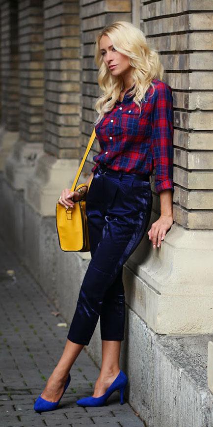 blue-navy-joggers-pants-yellow-bag-blue-shoe-pumps-cobalt-red-plaid-shirt-fall-winter-blonde-lunch.jpg