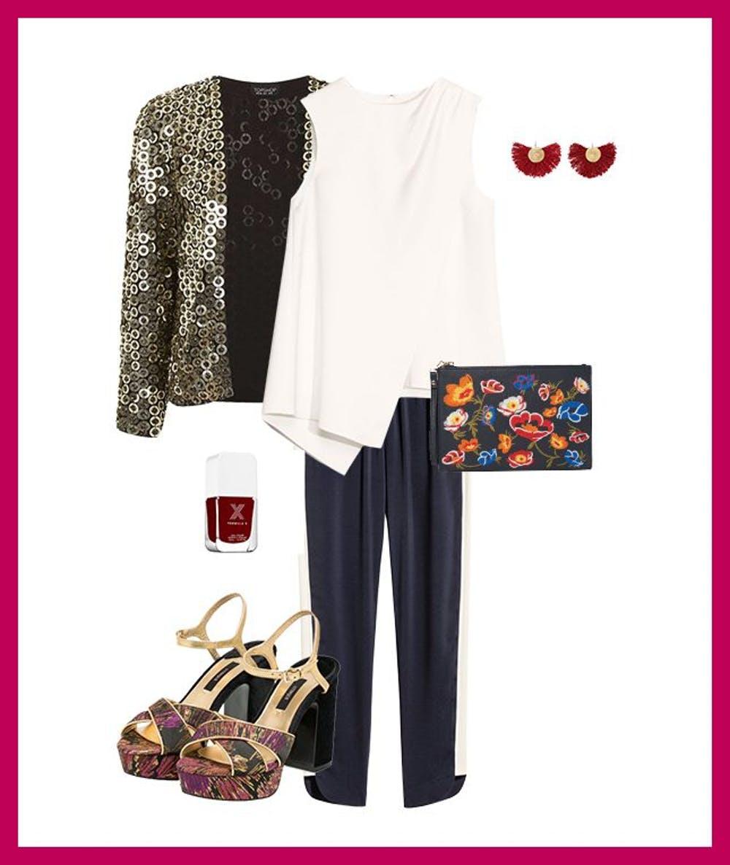 blue-navy-joggers-pants-track-pants-white-top-tan-jacket-gold-metallic-earrings-purple-shoe-sandalh-fall-winter-dinner-party.jpg