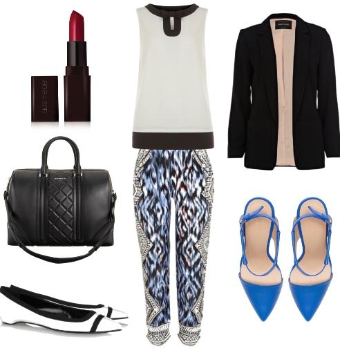 blue-navy-joggers-pants-white-top-blue-shoe-pumps-black-bag-white-shoe-flats-zprint-wear-style-fashion-fall-winter-black-jacket-blazer-work.jpg