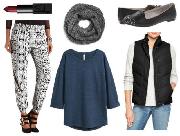white-joggers-pants-zprint-blue-med-tee-black-vest-puffer-grayd-scarf-howtowear-fashion-style-outfit-fall-winter-teal-black-shoe-loafers-lunch.jpg