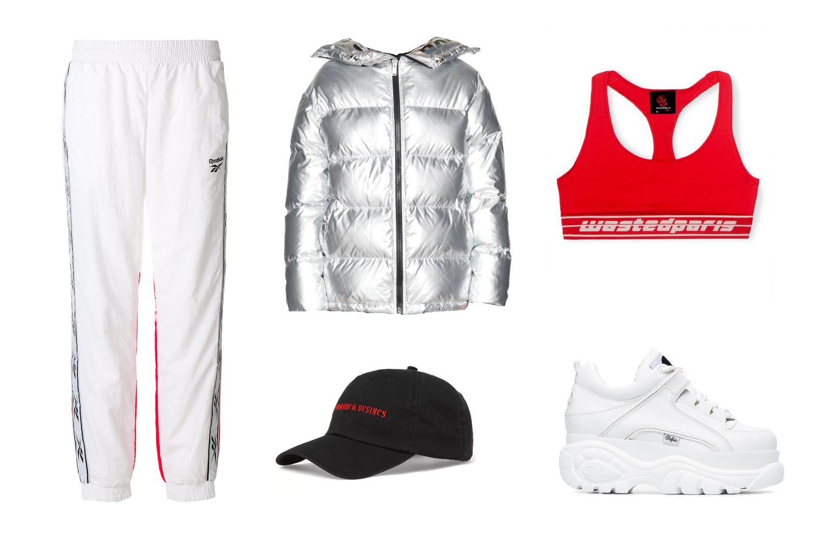 white-joggers-pants-grayl-jacket-coat-puffer-metallic-silver-red-bralette-sportsbra-hat-cap-white-shoe-sneakers-fall-winter-weekend.jpg