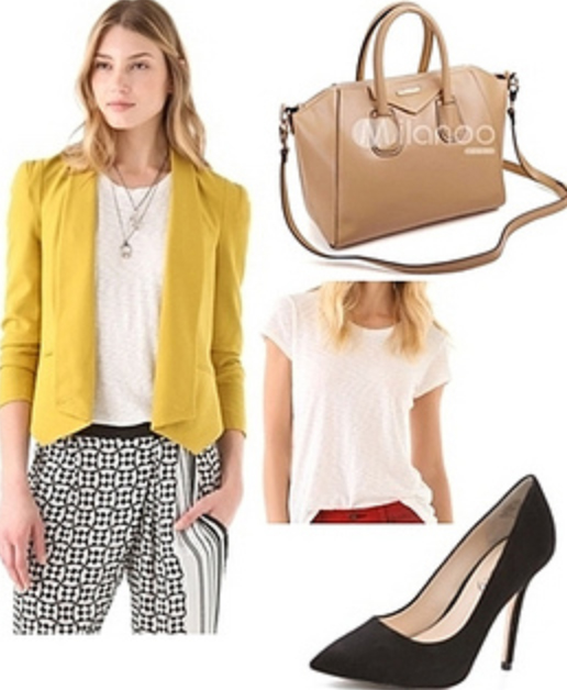 white-joggers-pants-zprint-white-tee-yellow-jacket-blazer-crop-tan-bag-black-shoe-pumps-spring-summer-blonde-work.jpg