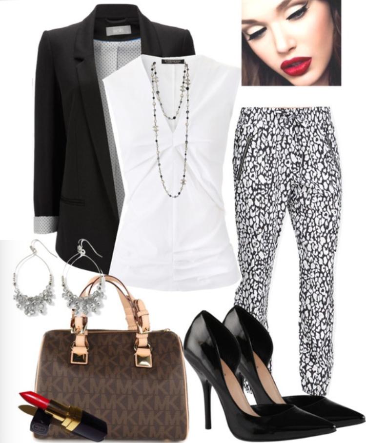white-joggers-pants-zprint-white-top-black-jacket-blazer-necklace-black-shoe-pumps-brown-bag-earrings-wear-style-fashion-fall-winter-print-work.jpg