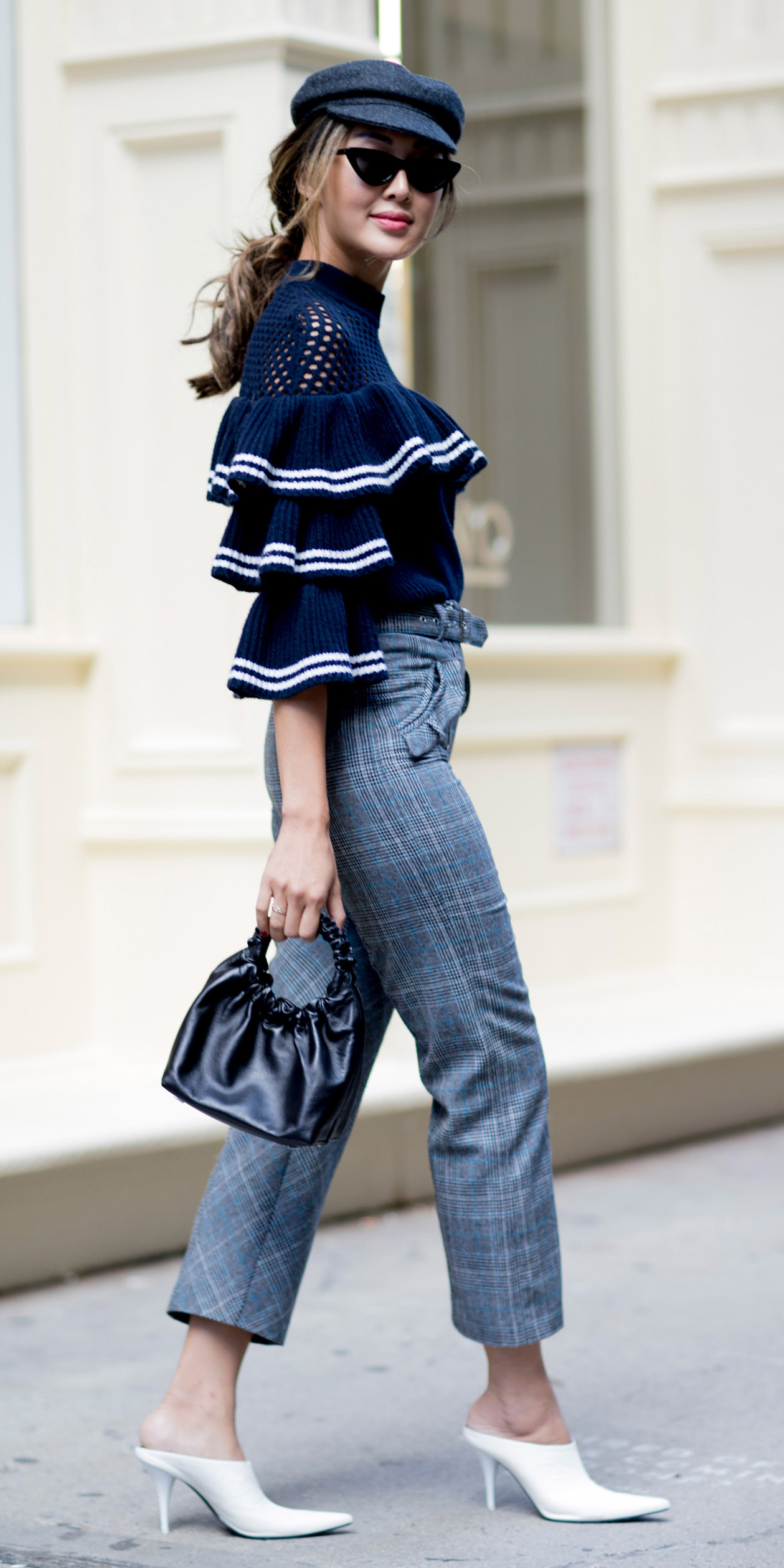 blue-navy-sweater-ruffle-tiered-pony-hairr-hat-black-bag-white-shoe-pumps-grayl-joggers-pants-fall-winter-lunch.jpg