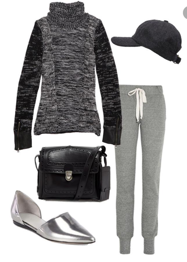 grayl-joggers-pants-grayd-sweater-turtleneck-black-bag-wear-style-fashion-fall-winter-gray-shoe-flats-hat-cap-weekend.jpg