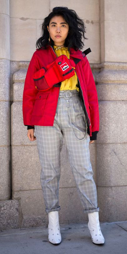 grayl-joggers-pants-plaid-white-shoe-booties-yellow-top-blouse-red-bag-belt-fannypack-red-jacket-bomber-brun-fall-winter-lunch.jpg