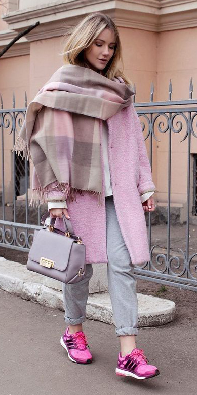 grayl-joggers-pants-white-sweater-pink-light-jacket-coat-pink-light-scarf-plaid-blonde-gray-bag-magenta-shoe-sneakers-fall-winter-weekend.jpg