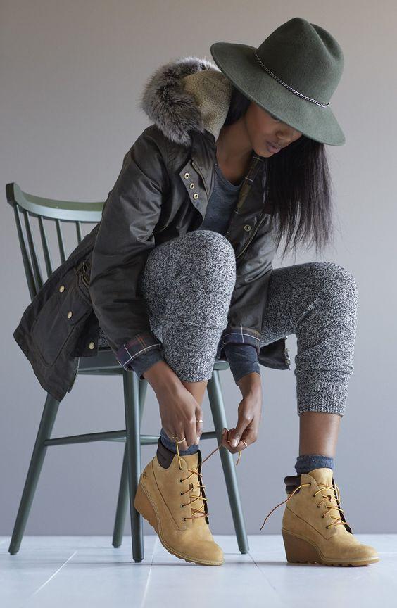 grayl-joggers-pants-grayl-tee-green-olive-jacket-coat-parka-hat-socks-tan-shoe-booties-wedge-timberland-fall-winter-brun-weekend.jpg