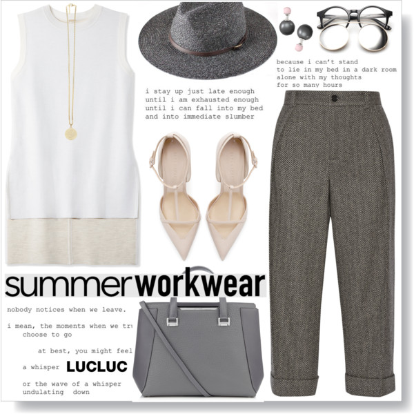 grayd-joggers-pants-white-sweater-sleeveless-hat-studs-gray-bag-white-shoe-pumps-spring-summer-work.jpg